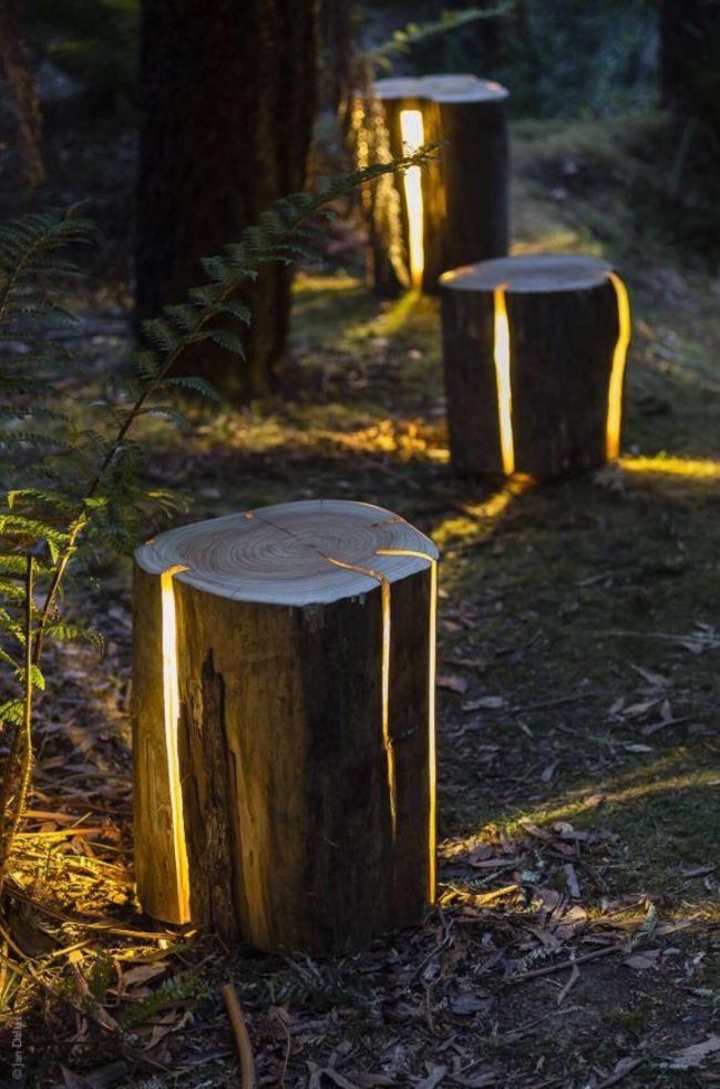 Illuminated log pathway lighting