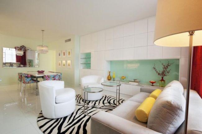 Monochrome Art Deco Living Room With A Zebra Print Rug