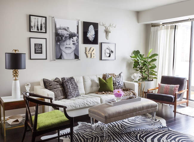 Eclectic And Chic Modern Condo Living Room.