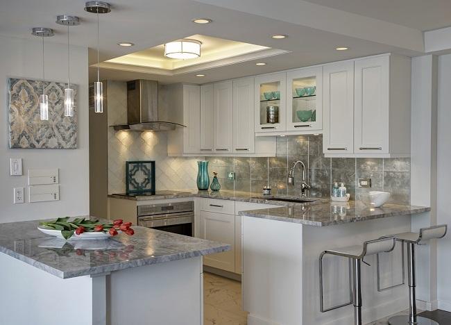 Sleek And Modern Kitchen In A Condo.